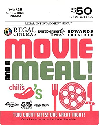 brinker regal entertainment movie a meal gift cards multipack of 2 25