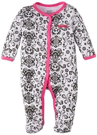 Calvin Klein Baby-girls Newborn Print Stretchie Coverall, Black, 3-6 Months