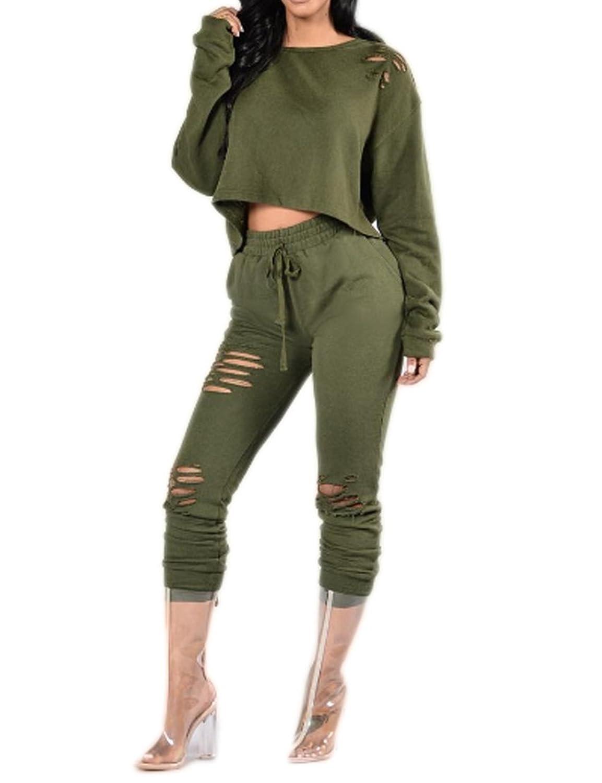 Women Long Sleeve Hollow Loose Crop Top Blouse T Shirt Long Pants 2 Pieces Set