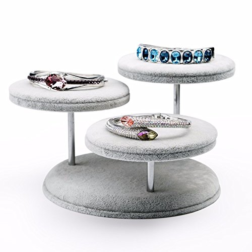 Update lzzfw Jewelry Box Christmas Gift Box Bing Huadian Creative Round Table Jewelry Display Props Bracelets Jade Jewelry Display Stand, Gray