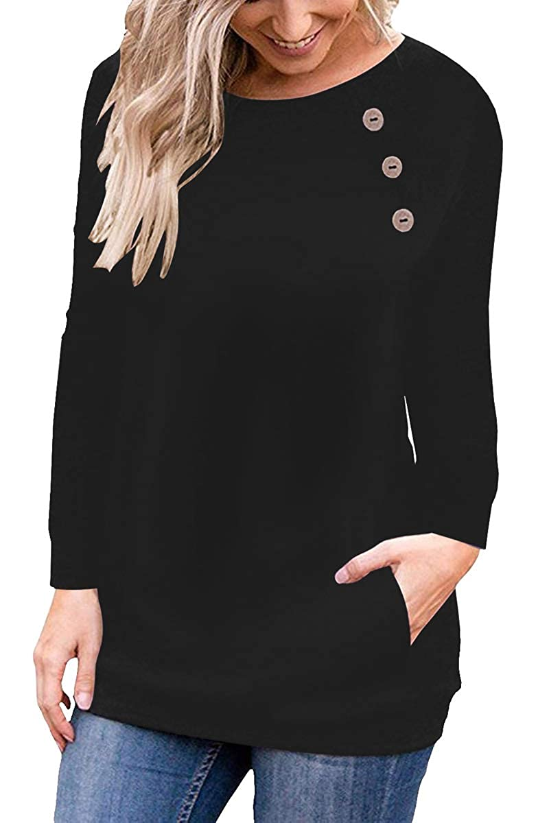 Black1 Meyeeka Womens Crew Neck Long Short Sleeve Button Decor Casual Blouse Tunic with Pocket