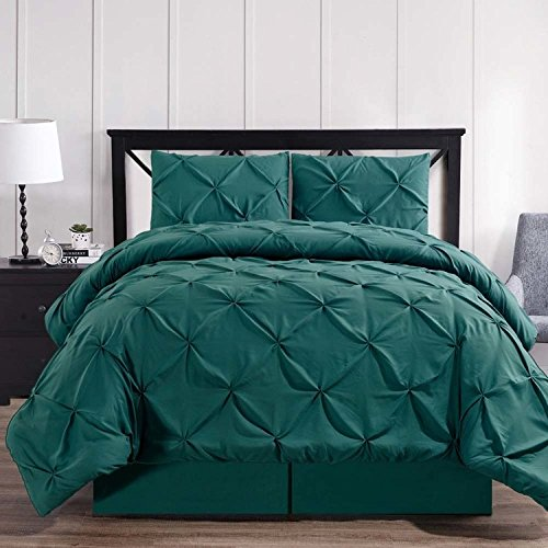 Envelope your room in elegant simplicity with the 4pc King Teal Oxford Comforter set; White Diamond pin tuck pattern; 100% luxury microfiber fabric w/Down alt. Filler; Machine washable