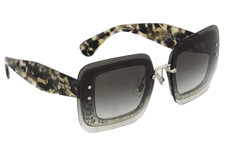 adc350cccfdd Amazon.com  MIU MIU REVEAL Sunglasses MU01RS Grey Glitter Havana 01R   Clothing
