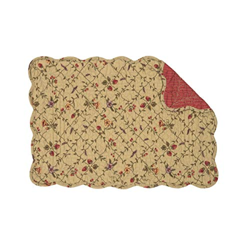 C&F Home Annamae Green Floral Vine with Straberries Place Mats Rectangular Cotton Quilted Reversible Washable Placemat Set of 6 Rectangular Placemat Set of 6 Annamae