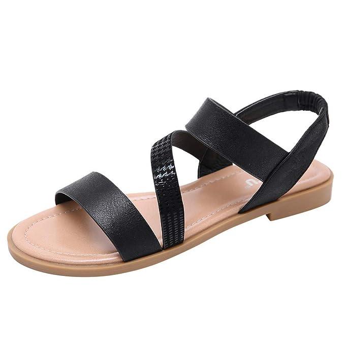 POLP Sandalias Mujer Verano Zapatillas Zapatos Planos Plataforma 2019 Negro Casual Sandalias de Vestir Mujer con Hebilla Sandalias de Danza 35-42: ...