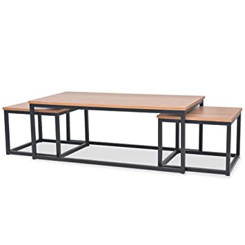 Table De Salon Gigogne.Festnight 3 Pcs Table Basse Gigogne En Bois De Frene Style Industriel Pour Salon
