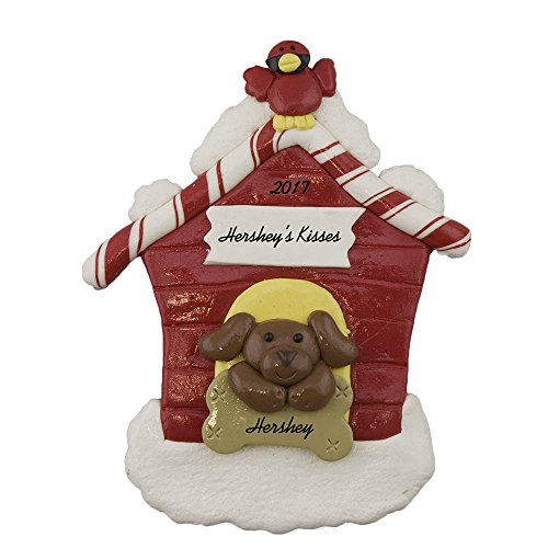 Calliope Designs Brown Dog in Dog House Personalized Christmas Ornament by Calliope Designs