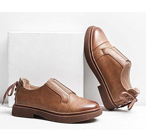 Sneakers Enfiler Cuir de Plateforme Femme Derbies Ville Casual Marron 39 Confortable 35 Chaussures Marcher a JRenok Mocassins Mode 845wxqzCC0