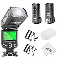 Neewer NW-561 LCD Screen Flash Speedlite Kit for Canon Nikon and Other DSLR Cameras,include:(1)NW-561 Flash+(1)2.4Ghz Wireless Trigger(1 Transmitter+ 1 Receiver)+(1)Microfiber Cleaning Cloth