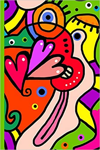 Amazon Com Abstract Colorful Art With Hearts Face Mouth