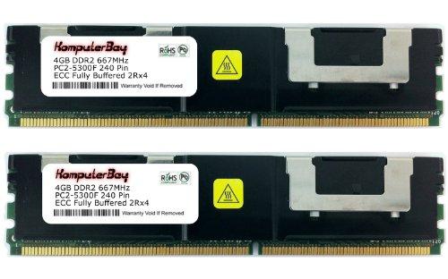 KOMPUTERBAY 8GB PC2-5300 CL 5 Fully Buffered ECC DDR2-667 1.8V 512Meg x 72 4GB X 2 8GB Kit (512mb Ddr2 667)