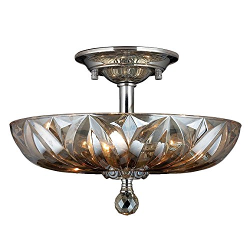 Worldwide Lighting Mansfield Collection 4 Light Chrome Finish and Golden Teak Crystal Bowl Semi Flush Mount Ceiling Light 16″ Medium For Sale