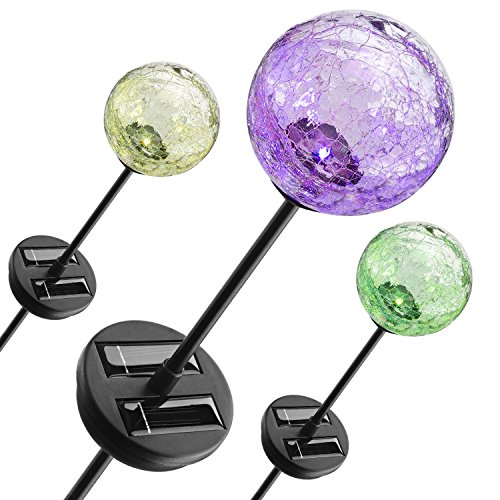 Color Changing Crackle Glass Ball Solar Light - 1