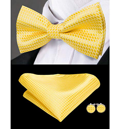 Dubulle Mens Gold Yellow Silk Bow Tie and Pocket Square Set for Wedding Tuxedo (Yellow Silk Bow Tie)