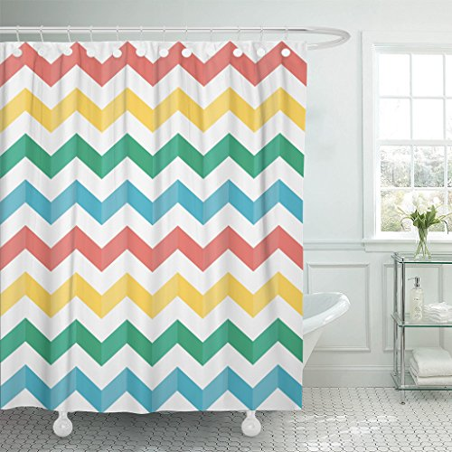 TOMPOP Shower Curtain Blue Zigzag Chevron Multicolored Stripes Shadow Sweater Table Products Waterproof Polyester Fabric 78 x 72 Inches Set with - Brown Stripe Shadow