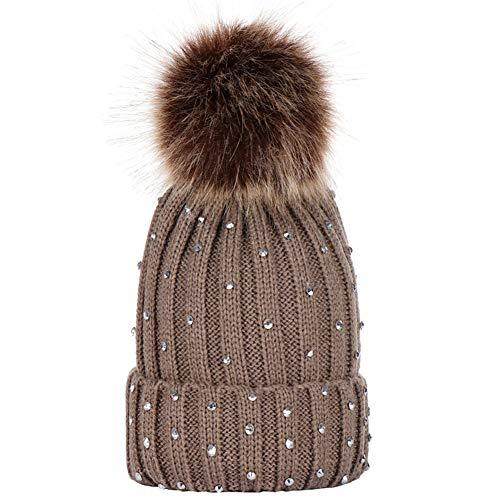 - AkoMatial Acrylic Fabric Kids Beanie Cap Pompom Rhinestone Decor Solid Color Knitted Winter Unisex Hat for Boy Girl Khaki