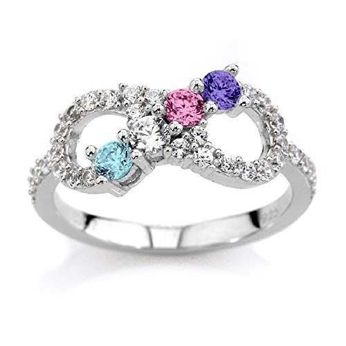 NANA Silver Infinity Mothers Ring with 1 to 6 Simulated Birthstones - Sterling Silver