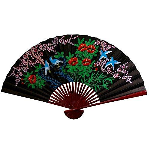 Oriental Furniture Black Cherry Blossom Fan - 30