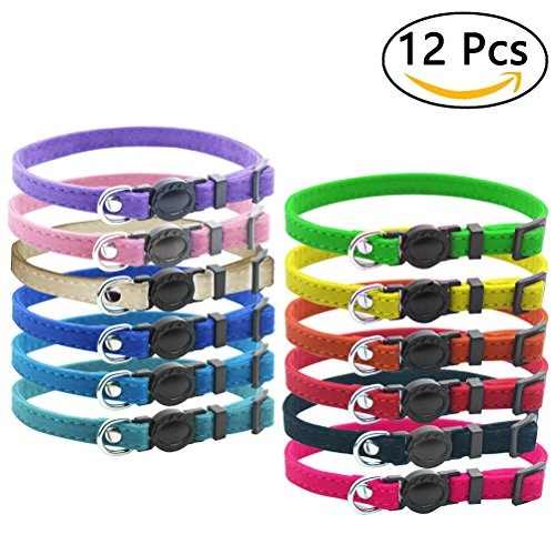 12 Pcs Puppy Litter ID Collars Breakaway - Velvet Safety Identification Collars - for Newborn Pets with Record Keeping Charts