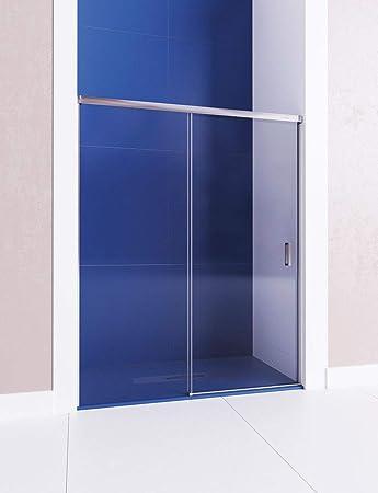 Mampara de ducha frontal - de 1 hoja fija y 1 puerta corredera - Cristal 6 mm con ANTICAL INCLUIDO - Modelo COSMOS (de 131-140 cm, Fijo a Derecha): Amazon.es: Bricolaje y herramientas
