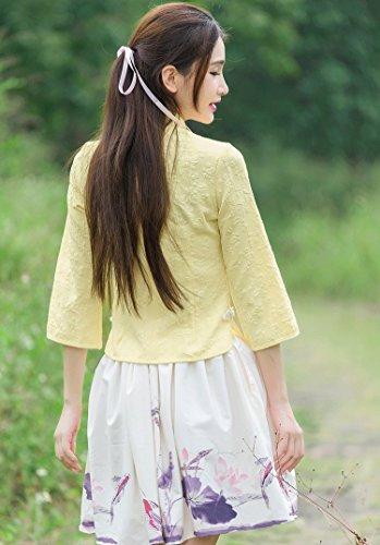 YueLian Mujeres La Blusa de Tang Estampada Camisa del Verano Diaria La mejora de Cheongsam Camisas Amarillo