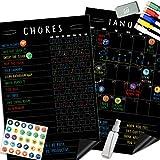 "Magnetic Behavior Chalkboard Rewards Chore Chart Set – Multiple Kid Chore Chart System w/Reusable Monthly Calendar, Responsibility Magnets & Dry Erase Refrigerator Reward Incentive – 17"" x 11"""