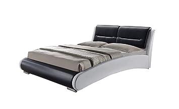 Florida - Cama doble de 160 x 200 cm, calidad Premium, estilo moderno y original, con Cabecero de cama, patas en metal y somier integrados, blanco y ...