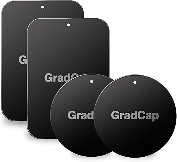 GradCap Metal Plate for Magnetic Mount Universal Replacement Plate Metal Disc with Strong Adhesive for Car Mounts 2 Rectangle and 2 Round (All Black/with Logo)