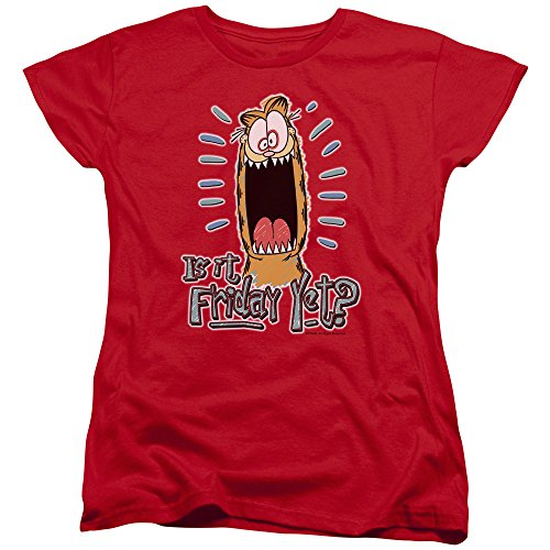 - Trevco Garfield Friday Women's T Shirt, Large Red