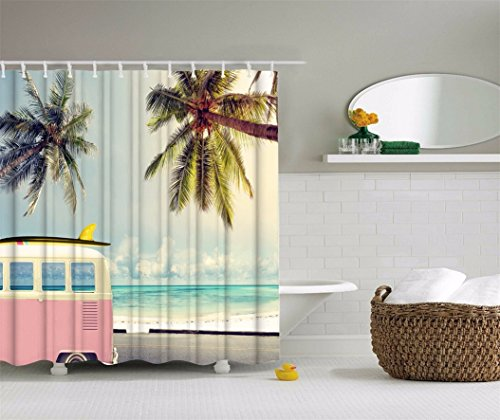 A.Monamour Tropical Palm Tree Blue Ocean Sky Summer Vacation Nature Scenery Printed Waterproof Mildew Resistant Polyester Fabric Beach Shower Curtain For Bathroom Decors 180x180 cm/72x72 Inch