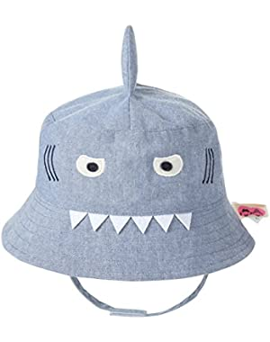 Baby Boys Sun Cap Cute Shark Pattern Hat Summer Pure Cotton Thin Infants Sunscreen Cap