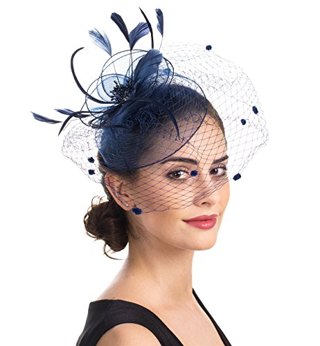 SAFERIN Fascinator Hat Feather Mesh Net Veil Party Hat Flower Derby Hat with Clip and Hairband for Women