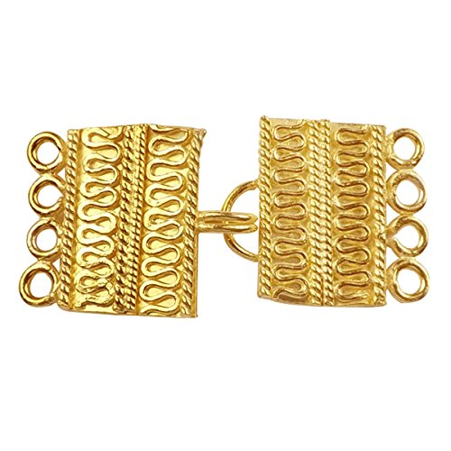 (18K Gold Overlay Multi Strand Clasp With 4 Holes CG-234-19X12MM)