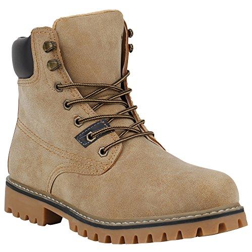 Stiefelparadies Herren Worker Boots Leicht Gefütterte Schuhe Schnürboots Outdoor Schnürschuhe Profilsohle Wildleder-Optik Schnürer Flandell Creme Amares