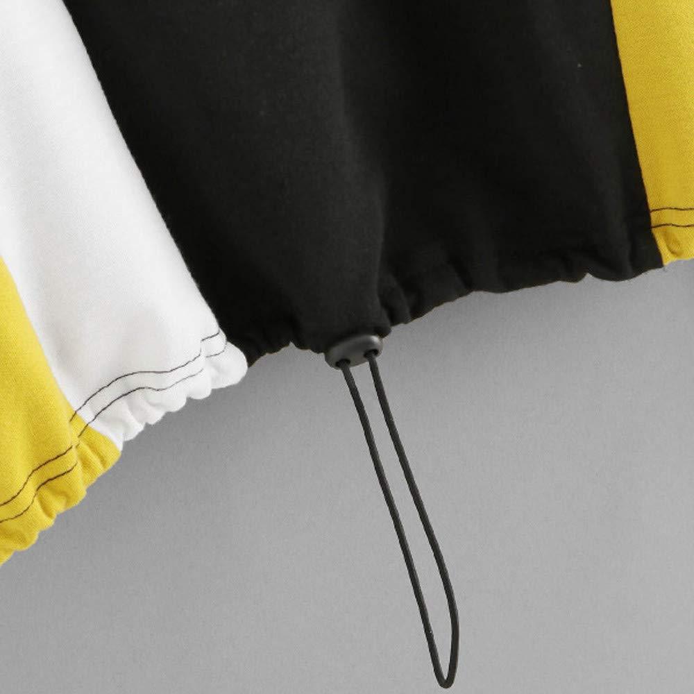GridNN ▶Women Patchwork Sweatshirt Long Sleeve Blouse Zipper Pullover Tops Shirt