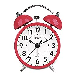 HENSE Classical Retro Twin Bell Non Ticking Sweep Second Hand Bedside Desk Analog Alarm Clock with Nightlight and Loud Alarm HA01N-07(Red)