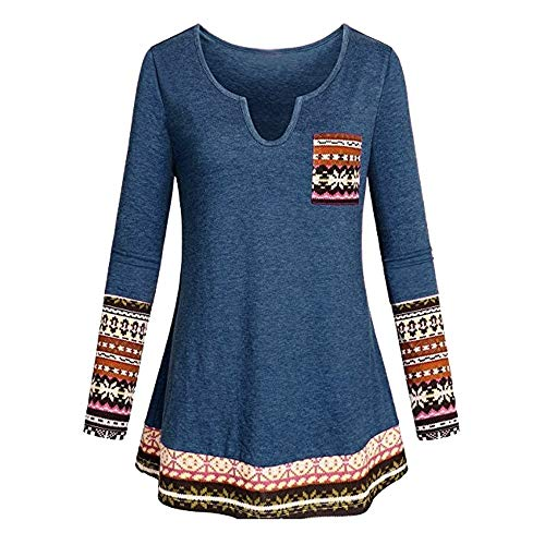 Plus Size Tops,Toimoth Women's Long Sleeve Boho Patchwork Tunic Blouse Shirt with Pocket (Blue,2XL) -