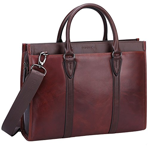 Banuce Vintage Full Grain Oil-Waxed Leather Briefcase for Men Women 2 way Business Handbag 14
