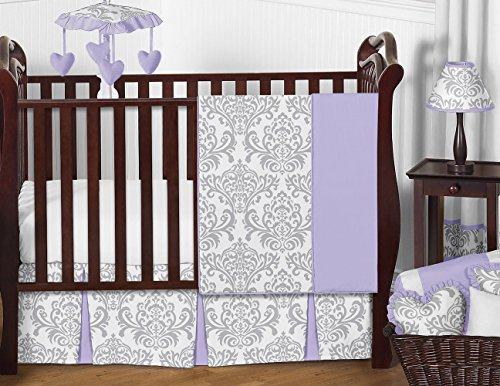 Sweet Jojo Designs 11-Piece Lavender, Gray and White Elizabeth Damask Print Baby Bedding Collection Girl Crib Set Without Bumper