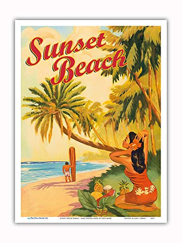 (Pacifica Island Art - Sunset Beach Hawaii - Oahu North Shore - Surfer - Vintage Hawaiian Travel Poster Rick Sharp - Master Art Print - 9in x)