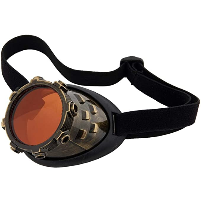 Unique Retro Vintage Style Sunglasses & Eyeglasses CyberSteam Gold Eyepatch with Orange Lens $11.95 AT vintagedancer.com