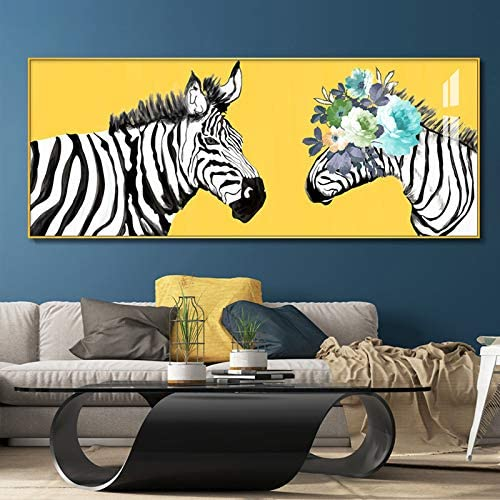 tzxdbh 100% Pintado a Mano la Pintura al óleo del Arte Cebra de Colores en Lona Wall Art Pared Adorno Imágenes Pintura para la Sala en Vivo Decoración-in a Partir de (40x80cm)