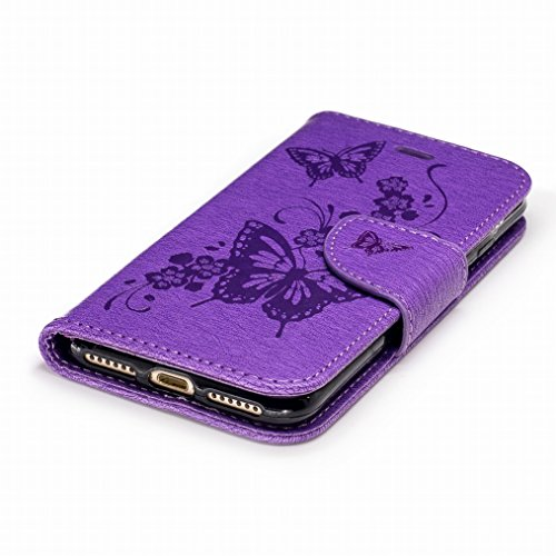 LEMORRY Apple iPhone 7 Hülle Tasche Ledertasche Beutel Haut Schutz Magnetisch SchutzHülle Weich Silikon Cover Schale für iPhone 7, Schmetterling Schnitzen Blau Lila