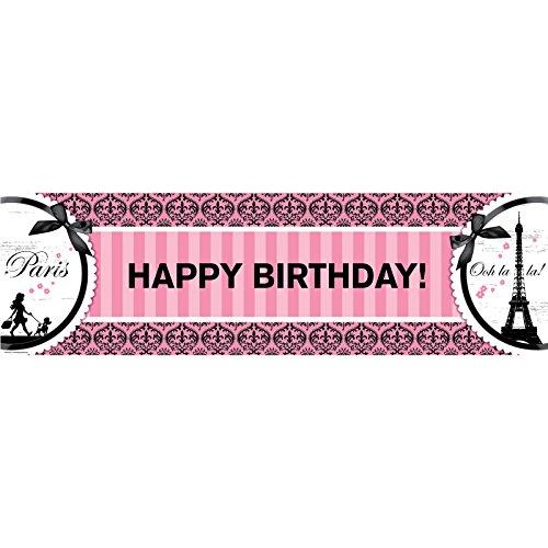 Paris Eiffel Tower Damask Party Supplies - Vinyl Birthday Banner 18