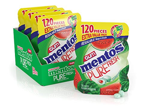 Mentos Pure Fresh Sugar-Free Chewing Gum with Xylitol, Watermelon, 120Piece Bulk Resealable Bag (Pack of 4) (Watermelon Xylitol)