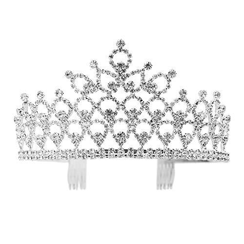 Charming Rhinestone Heart Flower Design Tiara Crown Headband Comb Pin Wedding Bridal Party Birthday Tiaras ()