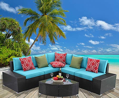 HTTH 6 Pieces Patio Furniture Sets Outdoor Sectional Patio Wicker Sofa 8589-EXP-TRQ