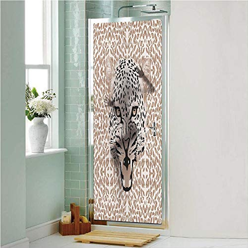 Modern 3D No Glue Static Decorative Privacy Window Films, Roaring Leopard Portrait with Rosettes Wild African Animal Big Cat Graphic,24