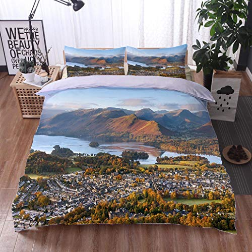 HOOMORE Bed Comforter - 3-Piece Duvet -All Season, Keswick and Derwent Water Lake District,HypoallergenicDuvet-MachineWashable -Twin-Full-Queen-King-Home-Hotel -School ()