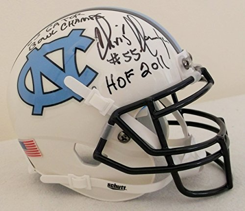 (Chris Hanburger Autographed UNC North Carolina Mini Helmet w 1963 Gator Bowl Inscription)